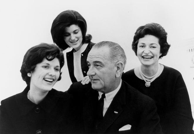 A Johnson family portrait from 1963 with Lynda Bird Johnson, Luci Baines Johnson, President Lyndon Baines Johnson and Lady Bird Johnson.