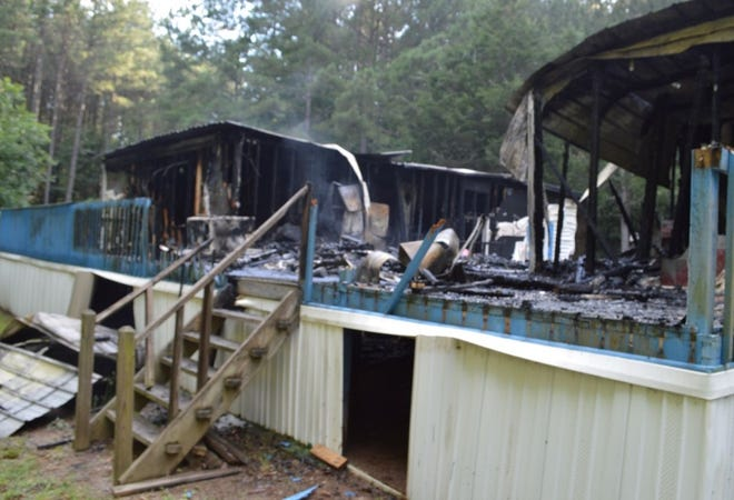 A 78-year-old man died in a fire that destroyed this mobile home in Madison County.