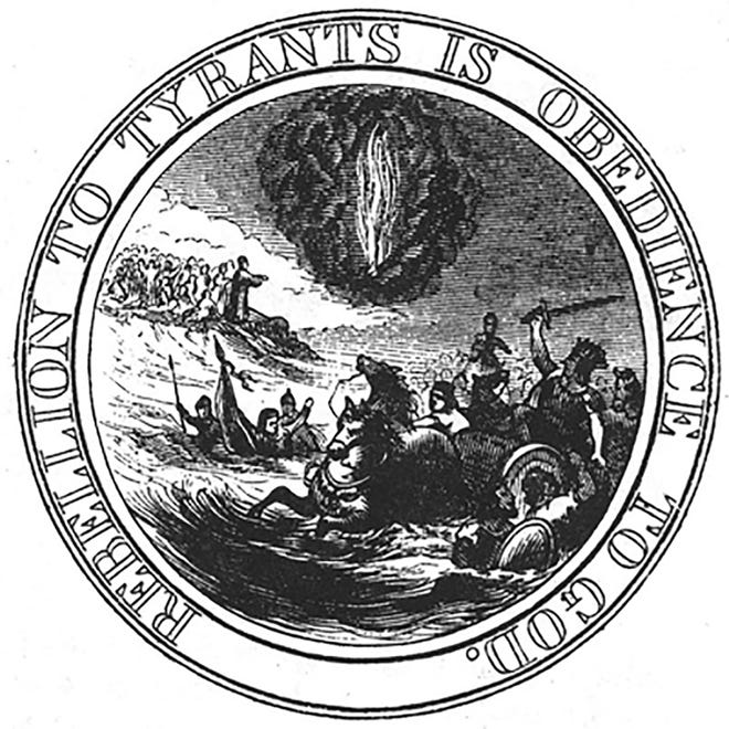 """Benjamin Franklin's 1776 idea for the Great Seal of the United States never was created, but according to seal expert John D. MacArthur, Benson Lossing made this drawing of it for """"Harper's New Monthly Magazine"""" in July 1856."""