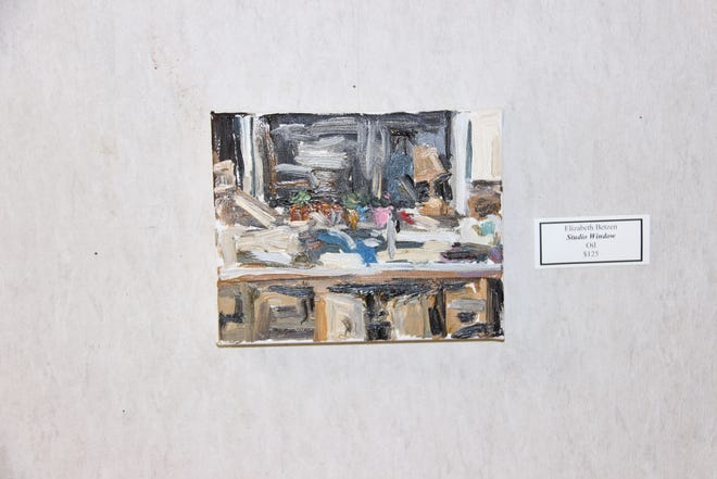 """Ardmore Artist Elizabeth Betzen currently has a collection of her work on display at the Goddard Center Art Studio. This painting, """"Studio Window"""" is from a series of paintings featuring the dynamic of views through windows."""
