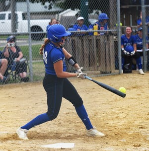 Reagan Franzen puts the ball in play during No. 3 (1A) Collins-Maxwell's 10-0 victory over GMG in five innings Friday at Collins. Franzen went 6-for-6 with a home run and six RBIs in victories over Pella (6-0) and Central Decatur (11-0) Saturday at the Spartan Invitational in Collins.