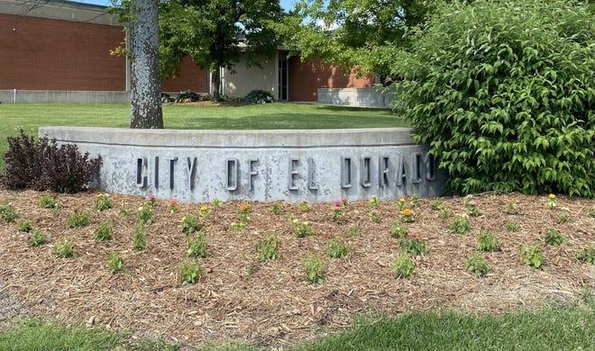 The City of El Dorado sign in front of City Hall