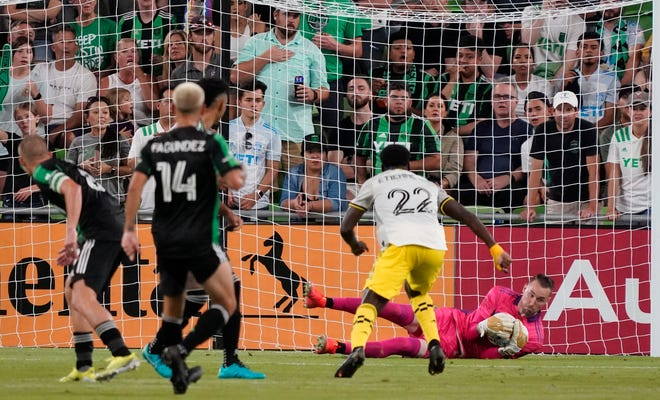 Austin goalie Brad Stuver makes a save in a 0-0 tie with the Crew on Sunday. Scoring continues to be a problem, as only two other MLS teams have scored fewer than Columbus' nine goals.