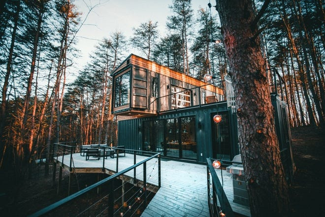 Although the outlines of the shipping containers can still be seen, The Box Hop is a luxurious getaway in the Hocking Hills, Logan, Ohio