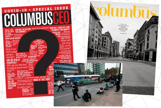 Award-winning Columbus Monthly and Columbus CEO covers and the bus at the center of Columbus Alive's honored story