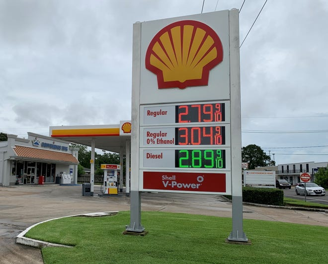 A gas station along West Park Avenue near Southland Mall in Houma advertises its pump prices Monday.
