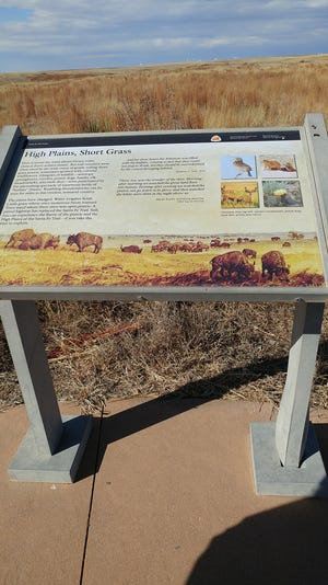 The storyboard about the high plains, short grass is located at the end of the walkway at the Howell Rut Site west of Howell on Highway 50.