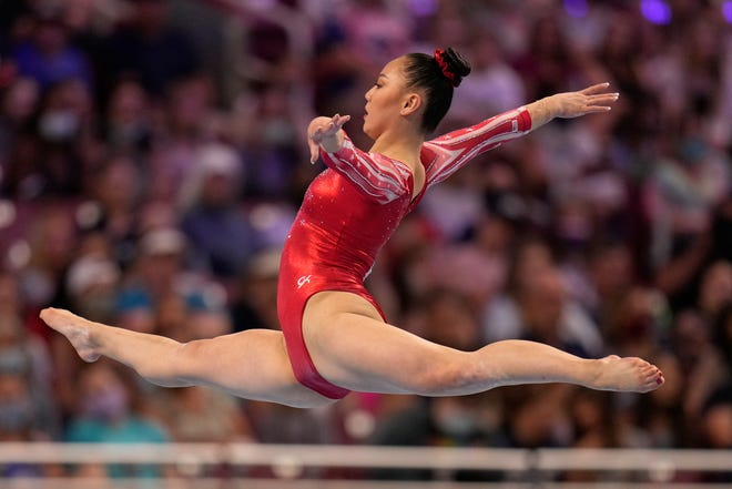 Kara Eaker competes in the floor exercise during the women's U.S. Olympic Gymnastics Trials in St. Louis. Eaker, a recent Grain Valley High School graduate who trains at GAGE in Blue Springs, finished seventh in the all-around after Sunday's finals and was named an alternate for the U.S. Olympic team along with GAGE teammate Leanne Wong.