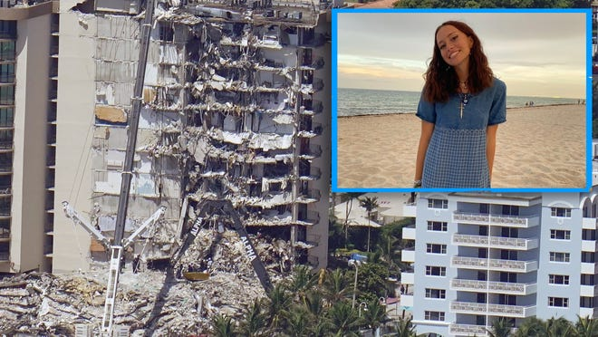 Nina Le Troadec, 15, a Champlain Towers East resident, describes watching the South tower fall from her balcony. Tower photo: AP Photo/Gerald Herbert; Le Troadec: provided