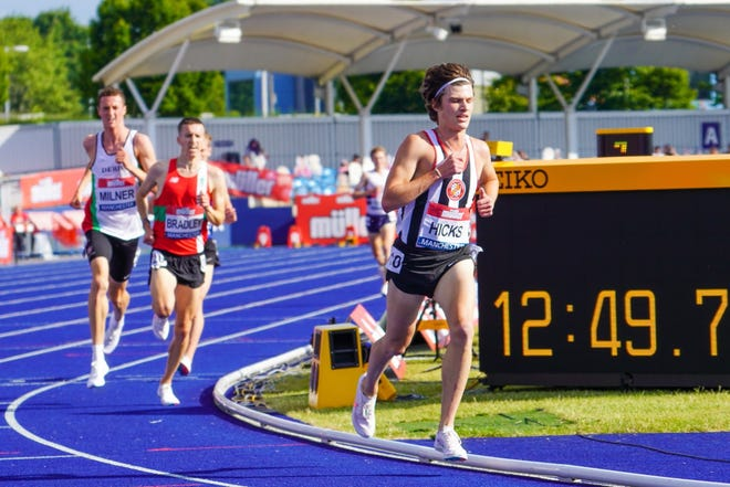 Former Bolles School runner Charles Hicks (right) rounds the corner ahead of Hugo Milner (far left) and Ben Bradley entering the bell lap of the men's 5,000-meter run at the British Athletics Championships on June 26, 2021 in Manchester, England. [David Hicks/Provided to the Times-Union]