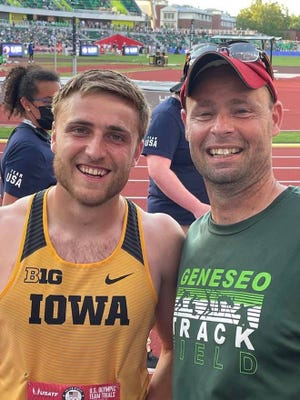 Todd Ehlert, at right, Geneseo Middle School Track & Field Coach and Geneseo High School Cross Country Coach, traveled to Oregon to watch Geneseo's Will Daniels in the Olympic Trials for the decathlon.