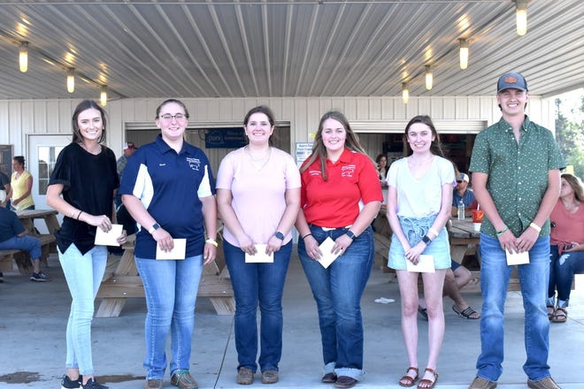 Henry County Pork Producer Scholarships were presented Wednesday, June 23, at the pork producers' pavilion on the Henry County fairgrounds in Cambridge. From left are Hailey VanOpdorp, Annie Johnson, Bailey Roselieb, Carsen Curry, Grace Verbeck and Kaleb Decker. Also receiving scholarships were Kamaryn Leab, Gage Miller, Michael Seabloom and Nicole Haverback.