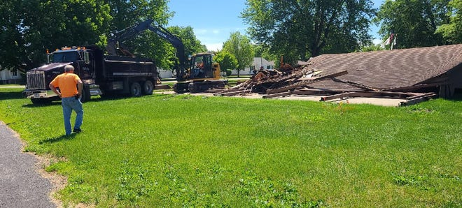 Veterans' Park in Atkinson may soon have a new look. Construction includes replacing the pavilion (in the photos), new bathroom facility and new playground equipment.