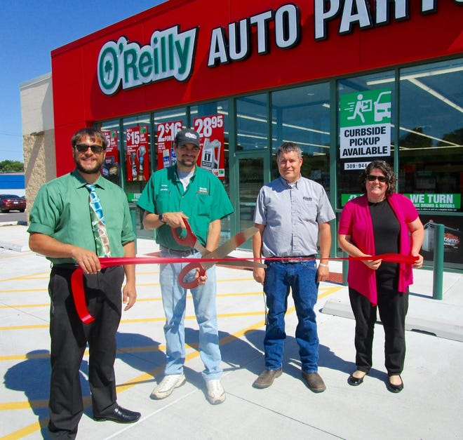 The Geneseo Chamber of Commerce recently held a ribbon cutting at the O'Reilly Auto Parts Store in Geneseo. In the photo are, from left, Zack Sullivan, executive director of the Geneseo Chamber of Commerce; Jeremy Smith, manager of Geneseo O'Reilly Auto Parts store; Dave Ferns, district manager; and Carla Evans, administrative assistant at the Geneseo Chamber.