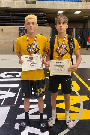 Galesburg High School freshmen Rocky Almendarez (left) and Gauge Shipp earned medals at the IWCOA's state wrestling meet on Friday. Shipp(113 pounds) finished in third place while Almendarez (120 pounds) took fifth.
