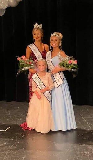 Taylor Main, left, was named Miss Knox County Fair Queen; Ellery VanUnnik, center, was named Little Miss Knox County Fair Queen; and Payton Allen, right, was named Junior Miss Knox County Fair Queen.