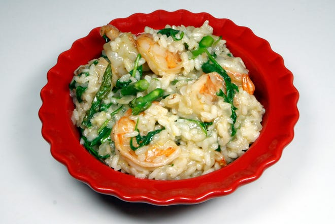 Lemony Shrimp and Risotto uses arborio rice and is laced with arugula. Here, asparagus is added to the recipe.