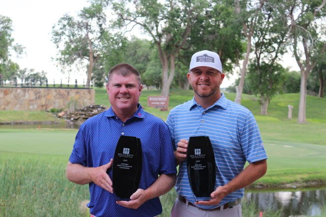 Michael Pruitt, left, and Brady Shivers, right, won the Hillcrest Swinger by one stroke on Sunday. It's the fifth year in a row Shivers has won the tournament, the past four with Pruitt as his playing partner.