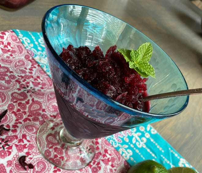Granitas are a snap to make and this hibiscus flavored one introduces an exciting, burst of tart goodness.