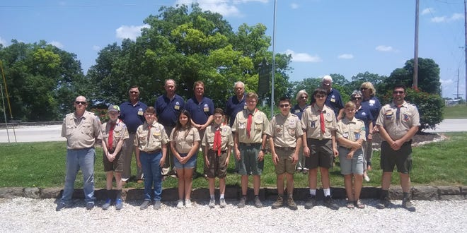 Boy Scouts presented the nine flags during a Flag Day ceremony.