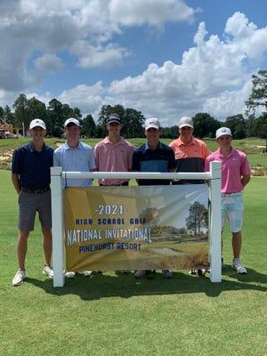 The Macomb boys pose before beginning play at the 2021 High School Golf National Invitational at Pinehurst Resort.