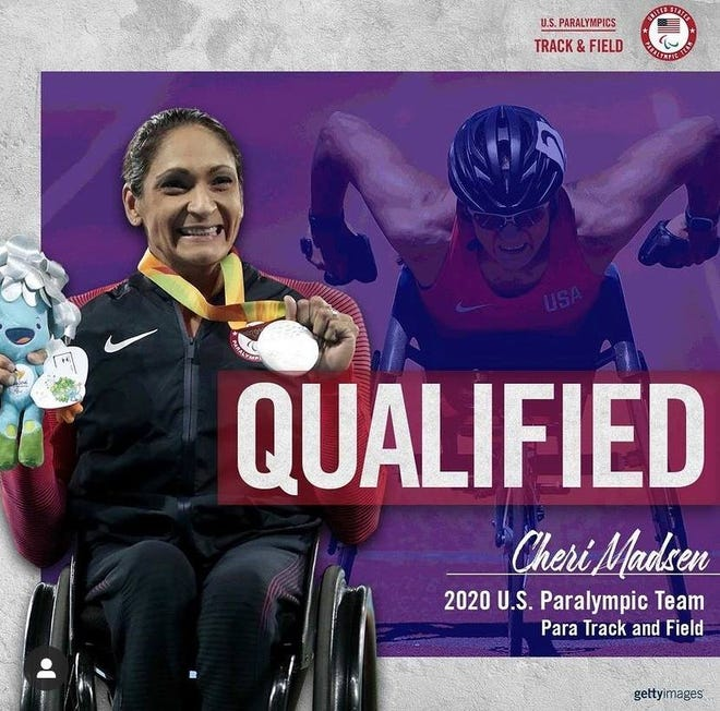 Cheri Madden qualified for the Paralympic Games at Tokyo in both the 100 and 400 meter races.