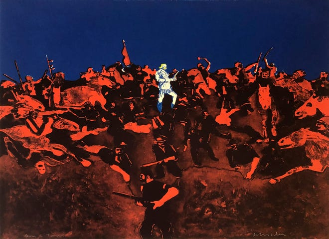 """""""American Landscape (First State),"""" by Fritz Scholder, 1976. Lithograph, 22 1/4 x 30 inches. Oklahoma City Museum of Art."""