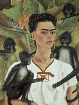 """""""Self Portrait With Monkeys"""" by Frida Kahlo is part of the """"Frida Kahlo, Diego Rivera and Mexican Modernism from the Jacques and Natasha Gelman Collection,""""  which will be on  view at the Norton from Oct. 23 to Feb. 6. In this painting, Kahlo is surrounded by four monkeys, which she kept as pets in Coyoacán."""