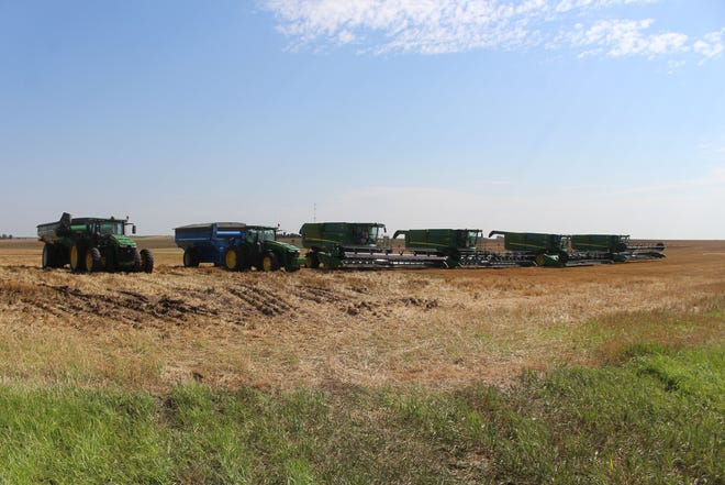 A harvest crew line-up greets the morning sun after a long night of cutting wheat to beat the rain that fell in Pratt County several times during the past week. Despite the minor interruptions, most Pratt County farmers are finished or in the final stages of wrapping up their 2021 wheat harvest.