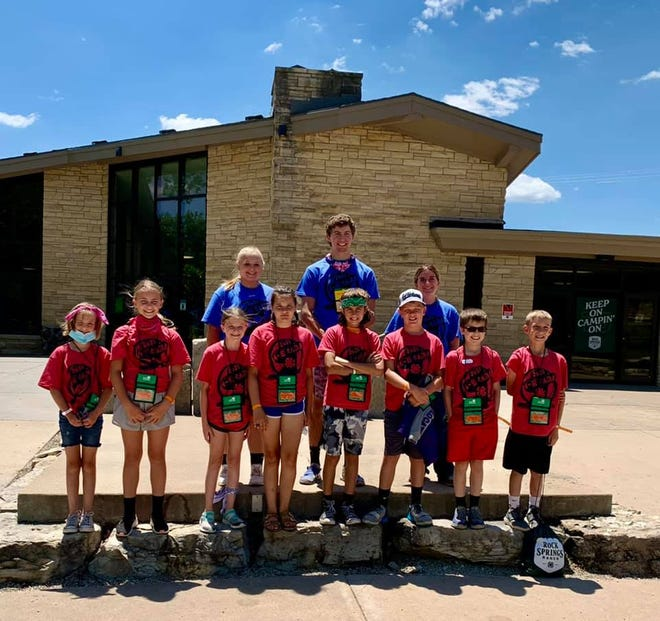 Stafford County 4-Hers taking part in Kansas 4-H Camp this year include (bottom from left) Addie McAlister, Rylee Ferguson, Lainey Peterson, Lilly McAlister, Wyatt Reed, Easton Alpers, Jayce Feril, Ryer Ward, (top row) Jessica Schrag, Dylan Reed and Madilyn Hearn.