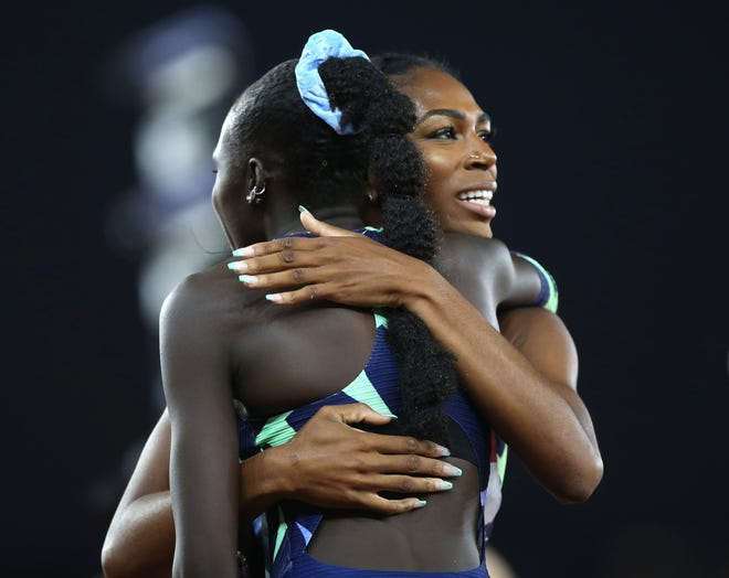 Raevyn Rogers, right, congratulates Athing Mu after they each made the U.S. Olympic Team in the women's 800 meters at the U.S. Olympic Track & Field Trials on Sunday at Hayward Field.