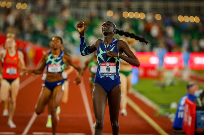 Athing Mu wins the 800 title on the final night of the U.S. Olympic Track & Field Trials at Hayward Field in June.