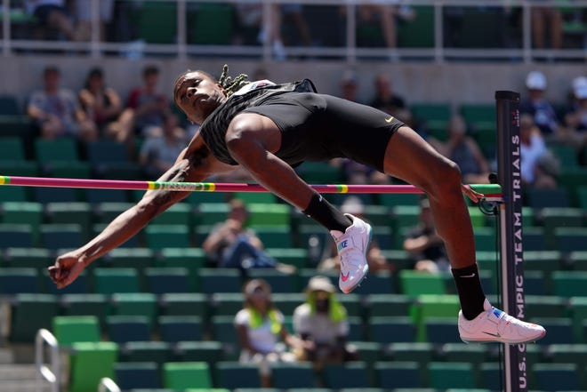 JuVaughn Harrison of LSU wins the high jump at 7-7 3/4 during the U.S. Olympic Track & Field Trials at Hayward Field on Sunday.