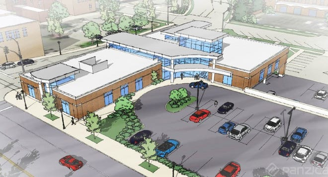 This is a conceptual view from Panzica Construction  of the first phase of the Beacon Mishawaka Clinic, proposed for the northeast corner of Lincoln Way East and Church Street.