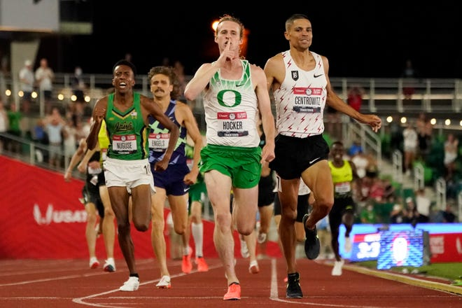 Notre Dame's Yared Naguse, left, outkicks national champion Craig Engels, for third place in the men's 1500-meter run at the U.S. Olympic Track and Field Trials Sunday in Eugene, Ore. The placement secured Nuguse a spot in next month's Tokyo Olympics along with race winner Cole Hocker, center, of Indianapolis and defending Olympic gold medalist Matthew Centrowitz. right.