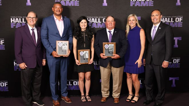 The Tarleton Athletics Hall of Fame inducted Jerry Doyle (women's golf coach), third from right; Carla Cooper (women's golf), third from left; and Collat Johnson (men's basketball and track and field), second from left, to the historic club. Also pictured are TSU Athletic Director Lonn Reisman, left, and President and First Lady James and Kindall Hurley, right.