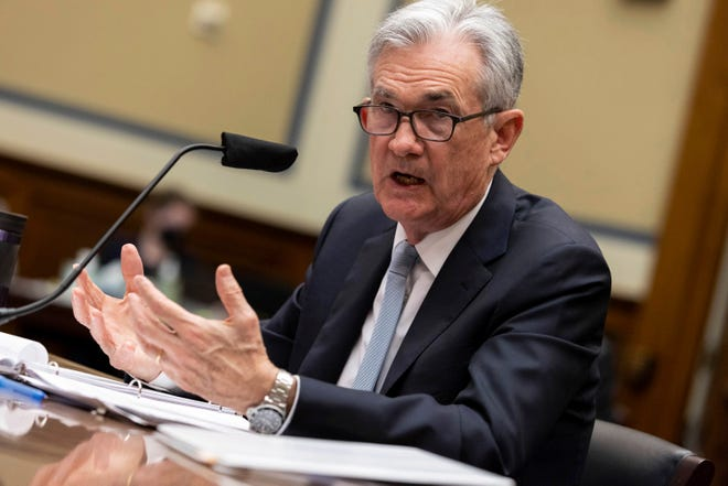 Federal Reserve Board Chairman Jerome Powell testifies on the Federal Reserve's response to the coronavirus pandemic during a House Oversight and Reform Select Subcommittee on the Coronavirus hearing on Capitol Hill in Washington June 22.