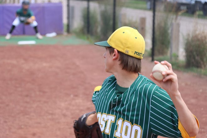 Ty Gorton of the Syracuse Legion Juniors warms up during a recent game.