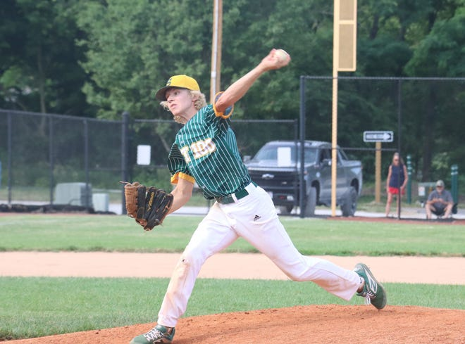 Cooper Carlson of the Syracuse American Legion Seniors pitches during a recent game.