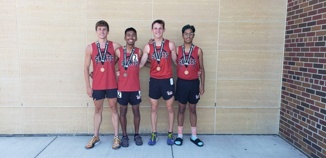 From Left: Noah Anderson, Juan Castaneda, Caleb Rivera, Luis Morales placed 8th in the 4x800 at the state track meet.