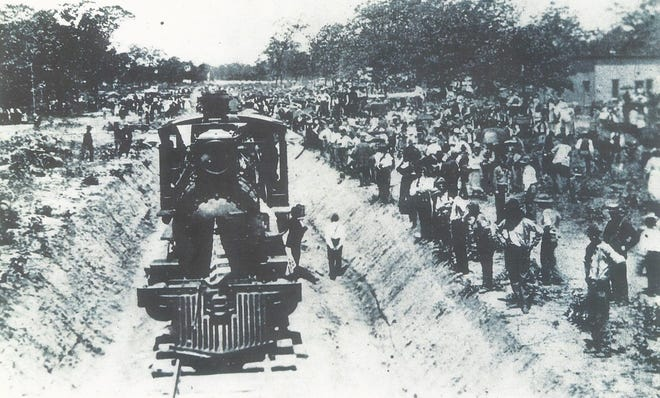 """On July 4, 1895, the first train of the Choctaw, Oklahoma, and Gulf Railway entered Shawnee from the west. The little village began to soar as a prominent city in Oklahoma Territory after this event. Hundreds of people lined the railroad to witness this """"milestone."""""""