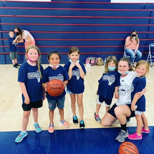 Blossoming basketball players at last week's COS Basketball camp.