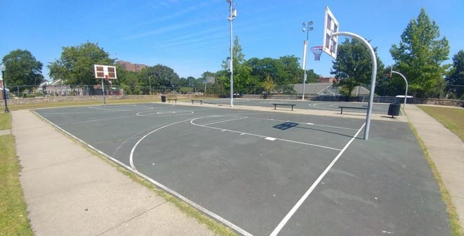 Basketball courts at Monte Park in New Bedford.