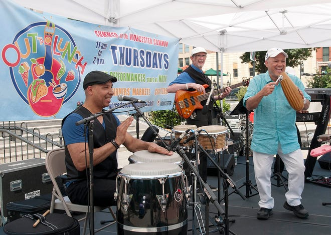 Grupo Fantasia performs at the weekly Out To Lunch Concert Series on the Worcester Common Oval in 2019.