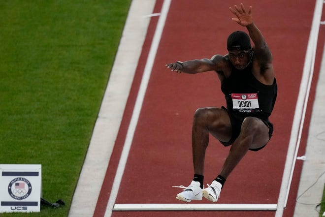 Former Florida standout Marquis Dendy competes Sunday during the finals of the men's long jump at the U.S. Olympic Track and Field Trials  in Eugene, Ore.