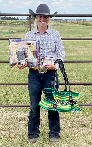 Kylie Wittnebel of Castlewod earned the Senior Girls All-Around Award on Sunday at the Hand-Hyde County 4-H Rodeo at Highmore. Wittnebel placed second in breakaway roping, goat tying and pole bending.