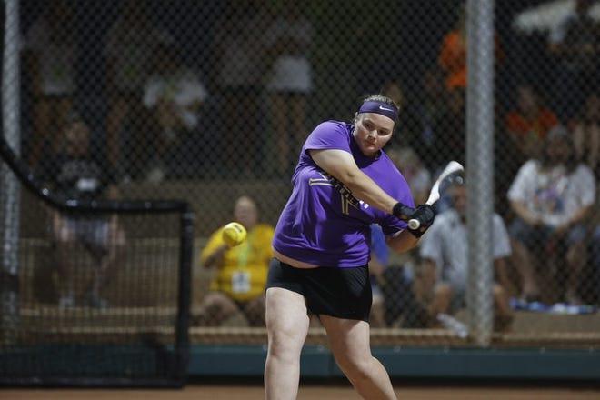 Brooke McCorkle in the NJCAA Home Run Derby in Yuma, Arizona