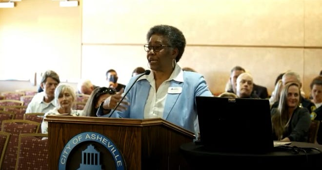 Asheville City Manager Debra Campbell addresses the City Council June 22, 2021.