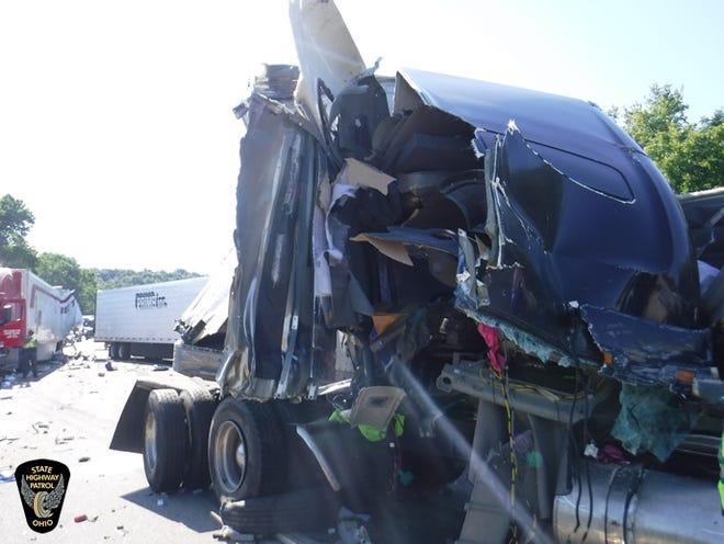 A Battle Creek man died when three trucks crashed last week in Ohio.  (Provided)