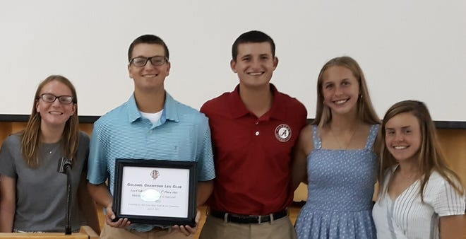 Pictured with their Ohio LEO Club of the Year award are (L to R) Maria Smith, Nolan McKibben, Mason McKibben, Ally Hocker and Theresa Dzugan.